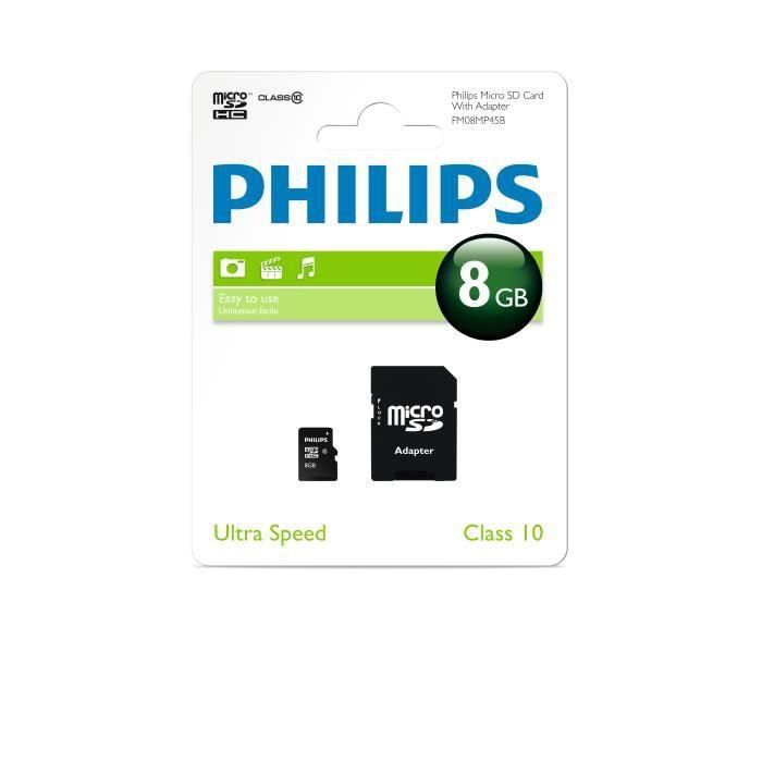 philips micro sd 8 go adaptateur sd 8go achat carte m moire pas cher avis et meilleur prix. Black Bedroom Furniture Sets. Home Design Ideas