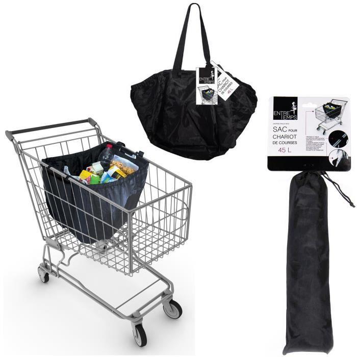 sac a provision 45l pochette de rangement cabas pour caddie et chariot de courses achat. Black Bedroom Furniture Sets. Home Design Ideas