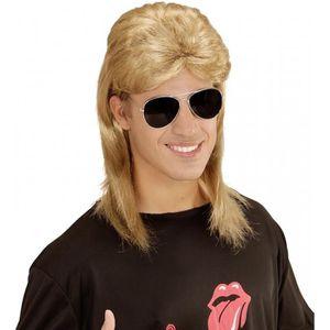 CHAPEAU - PERRUQUE Perruque mulet blonde années 80 avec lunettes