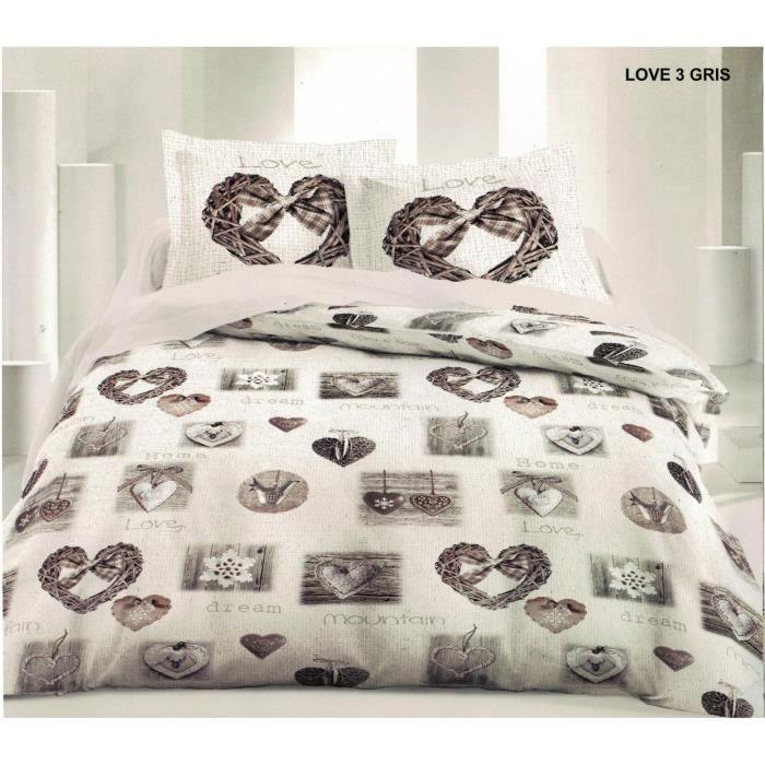 parure de drap 2 perossne 160x200cm love gris achat vente parure de drap les soldes sur. Black Bedroom Furniture Sets. Home Design Ideas