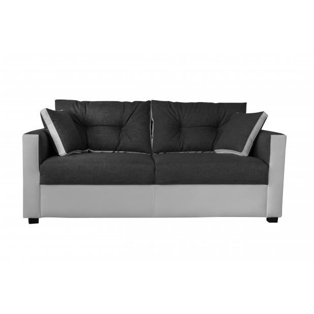 Canap martina 3 places sawana anthracite blanc canap for Divan 3 places occasion