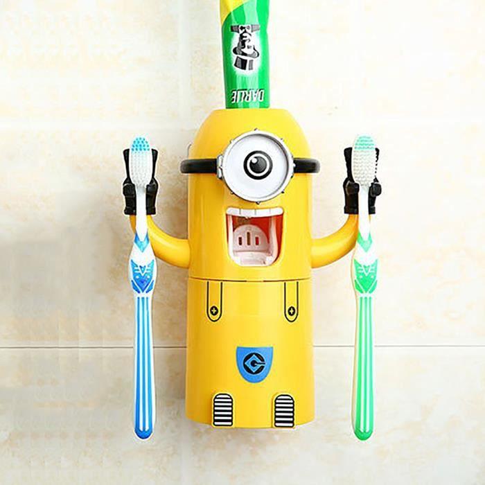 Titulaire mignon minions design wash set brosse dents distributeur automatique de dentifrice - Range brosse a dent ...