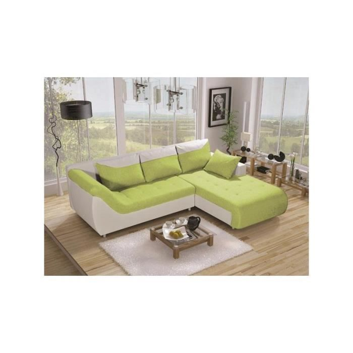 Justhome linea canap d 39 angle couleur vert a63 h x l x for Canape d angle vert