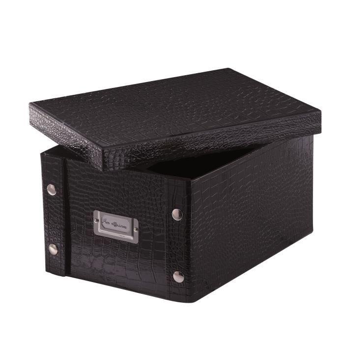 Bo te de rangement noire format a4 achat vente boite - Boite de rangement empilable ...