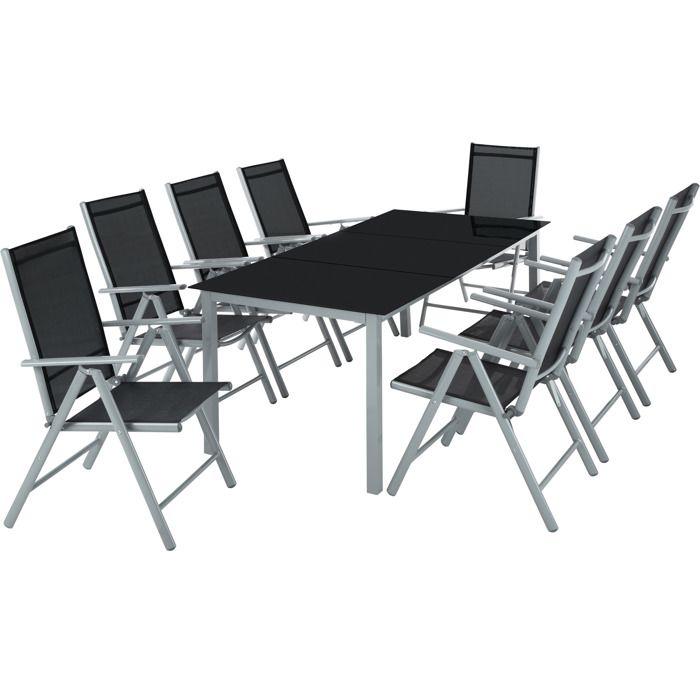 Salon de jardin avec 8 chaises pliantes et 1 table en verre et en aluminium gris noir 1 tectake - Salon de jardin table et chaises mulhouse ...