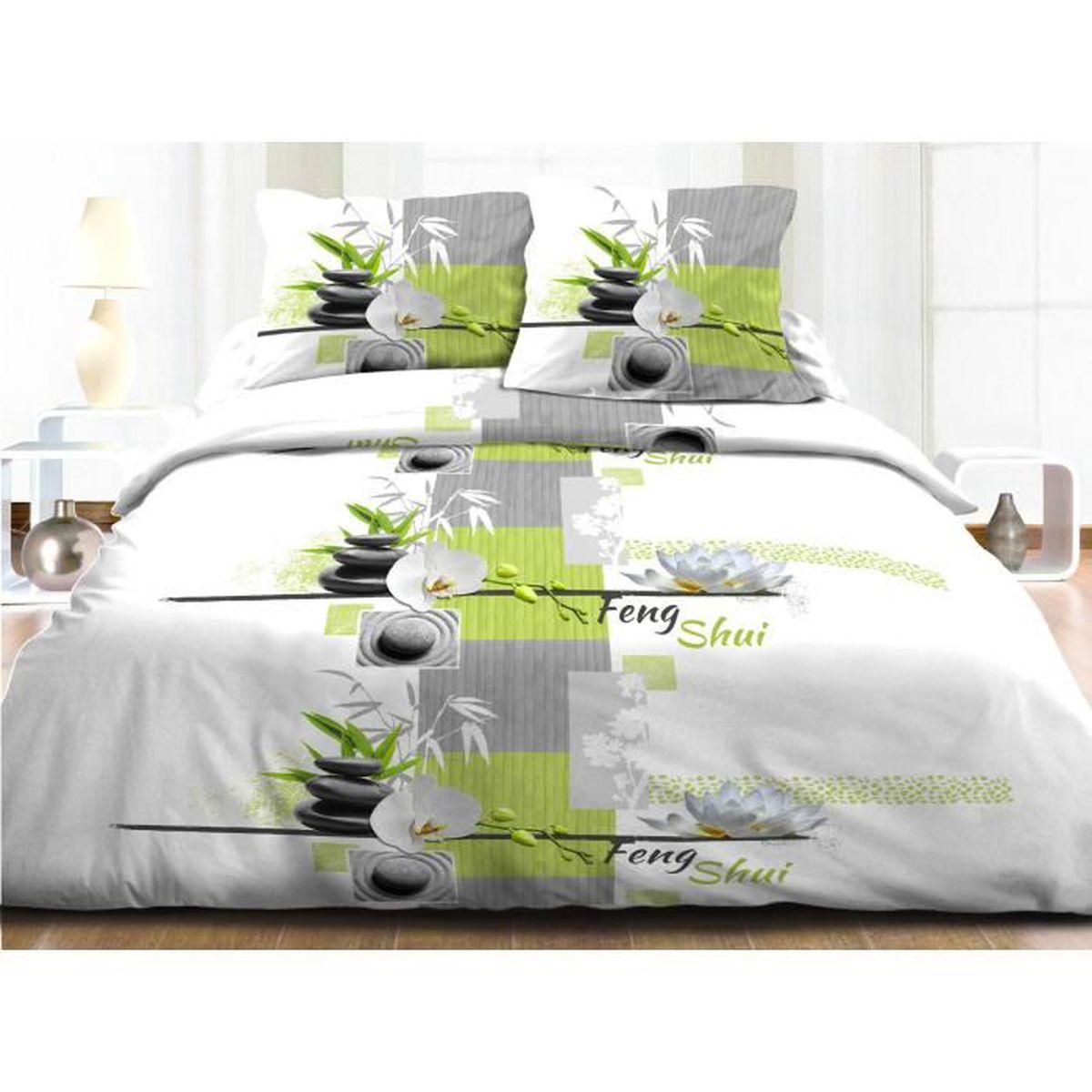 parure drap plat drap housse 140x190 2 taies pur coton 57 fils fengshui anis achat. Black Bedroom Furniture Sets. Home Design Ideas
