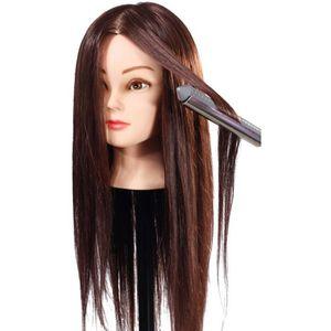 TÊTE D'APPRENTISSAGE 85% Cheveux Brun Long Naturel Tête À Coiffer Coiff