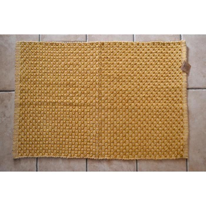 tapis de bain jaune chenille coton r versible 90cm achat vente tapis bain soldes d t. Black Bedroom Furniture Sets. Home Design Ideas