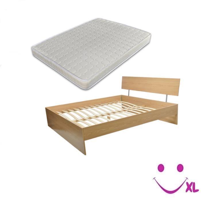 lit en bois avec matelas 180x200 brun clair achat vente structure de lit lit en bois avec. Black Bedroom Furniture Sets. Home Design Ideas