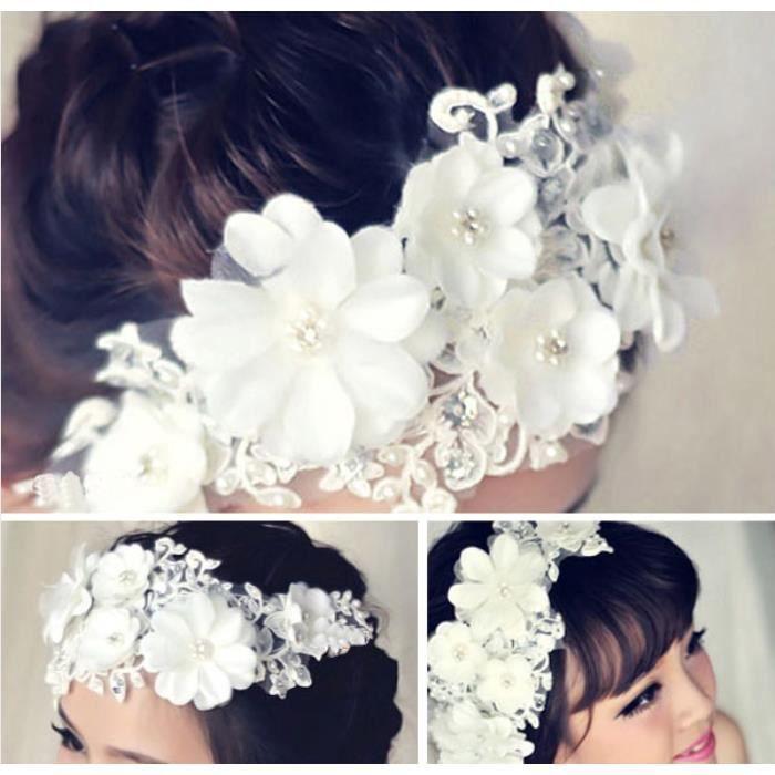 accessoires mariage cheveux cascade de fleurs r sille perles blanches achat vente bandeau. Black Bedroom Furniture Sets. Home Design Ideas