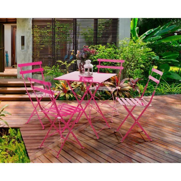 set de balcon maia 4 personnes rose framboise achat vente salon de jardin set de balcon. Black Bedroom Furniture Sets. Home Design Ideas