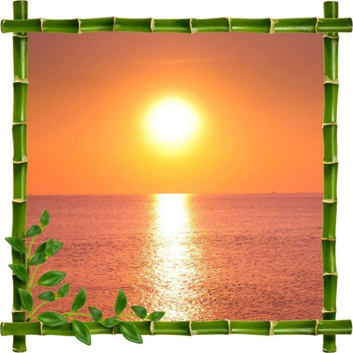 Sticker mural trompe l oeil d co bambous couch de soleil for Soleil decoratif mural