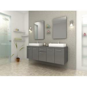 Olga gris meuble de salle de bain double vasq achat for Achat salle de bain complete