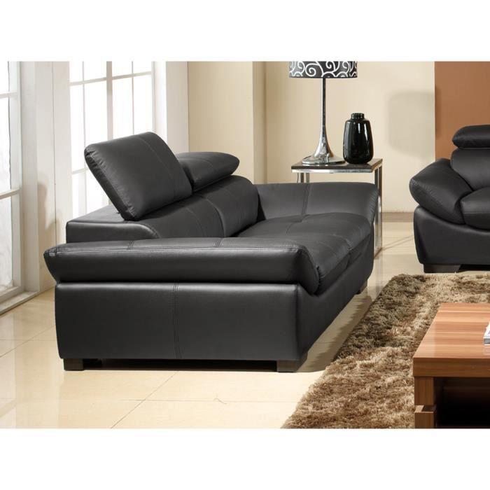 Canap cuir luxe 2 places borneo noir achat vente for Canape cuir noir 2 places
