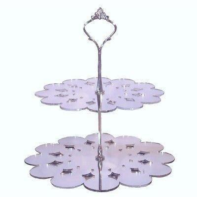 2 niveaux en forme de napperon stand g teau en argent for Miroir acrylique incassable