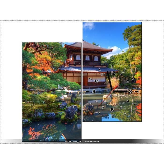 60 x 60 cm paysage jardin japonais horloge murale - Tableau jardin japonais ...