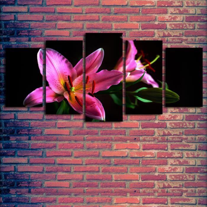5 pcs fleurs rouges tableau d 39 impression peinture sur for Tableaux et toiles deco interieure