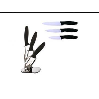 set 3 couteaux ceramique support acrylique achat vente couteau de cuisine set 3 couteaux. Black Bedroom Furniture Sets. Home Design Ideas