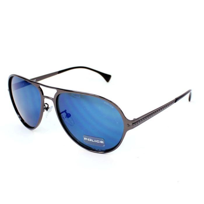 Lunettes de soleil police s8750 gun verres gri achat for Lunette soleil verre bleu miroir