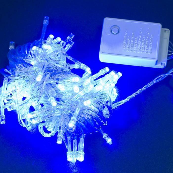 10m 100 guirlande lumineuse led lumi re bleu prise uk pour for Lumiere de jardin led