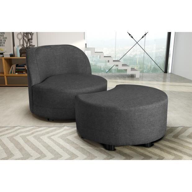 fauteuil pouf gris anthracite achat vente fauteuil gris cdiscount. Black Bedroom Furniture Sets. Home Design Ideas