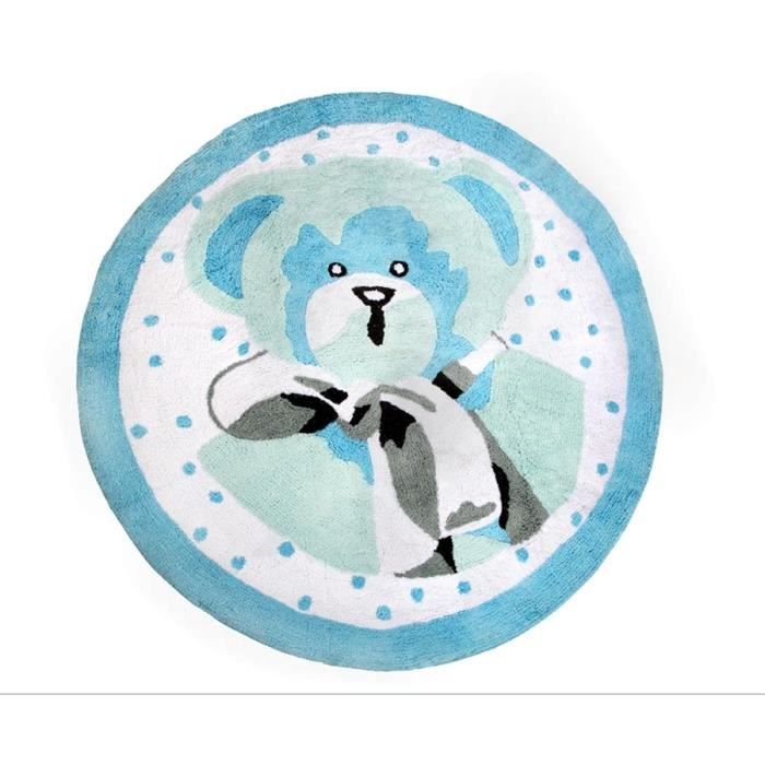 tapis enfant en coton ours bleu achat vente tapis cdiscount. Black Bedroom Furniture Sets. Home Design Ideas