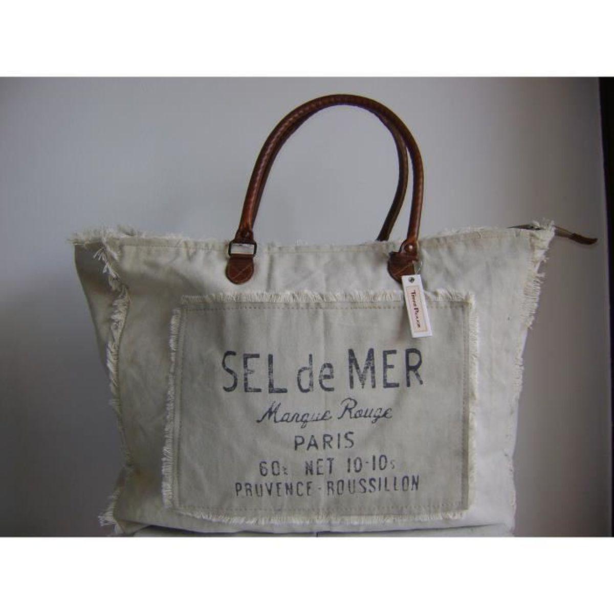 Sac cabas toile vintage beige franges anses cuir achat for Sac de sel pour piscine