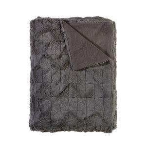 plaid fourrure imitation gris achat vente couverture plaid cdiscount. Black Bedroom Furniture Sets. Home Design Ideas