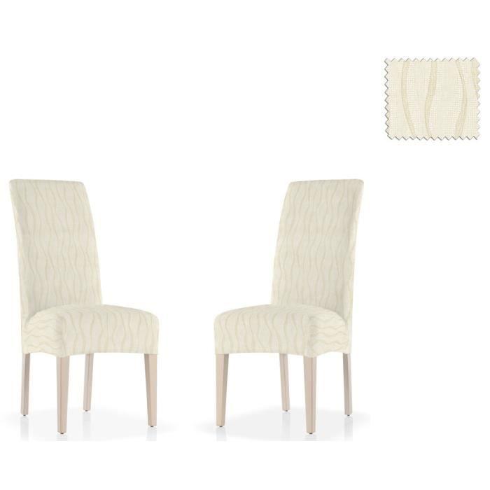 Pack 2 housses lastiques pour chaise avec dossie gelada for Housse de chaise lin