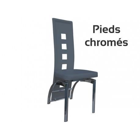 Enzo chaise grise pieds chrom s achat vente chaise for Chaise sejour grise