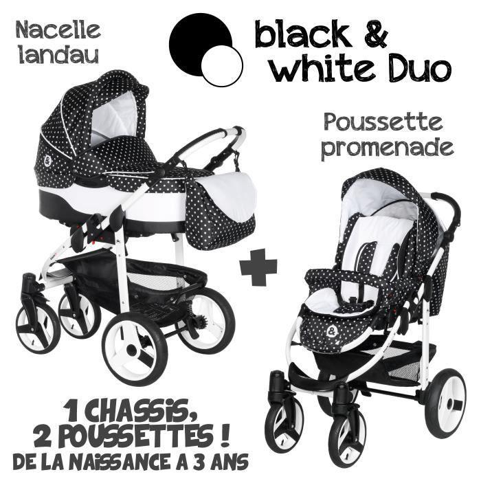 poussette duo 2 en 1 b w noir pois blanc noir achat. Black Bedroom Furniture Sets. Home Design Ideas