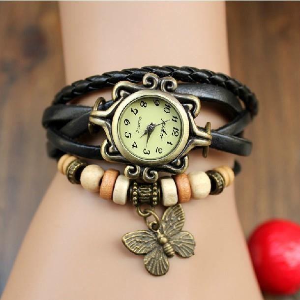 montre bracelet cuir noire femme fille papillon noir classique achat vente montre cdiscount. Black Bedroom Furniture Sets. Home Design Ideas