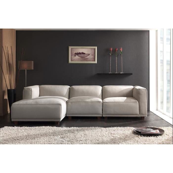 canap d 39 angle sora en tissus beige achat vente canap sofa divan tissu coton lin. Black Bedroom Furniture Sets. Home Design Ideas