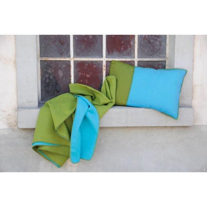 plaid 140 x 200 cm double face vert turquoise 1 sac coordonn inclus achat vente. Black Bedroom Furniture Sets. Home Design Ideas