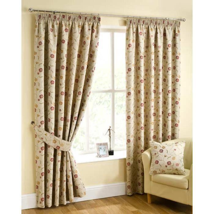 rideaux galon fronceur beige petites fleurs rouge et. Black Bedroom Furniture Sets. Home Design Ideas