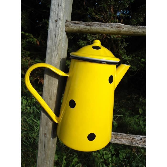 cafetiere 1 5 litre emaillee jaune a pois mail achat vente cafeti re th i re cdiscount. Black Bedroom Furniture Sets. Home Design Ideas