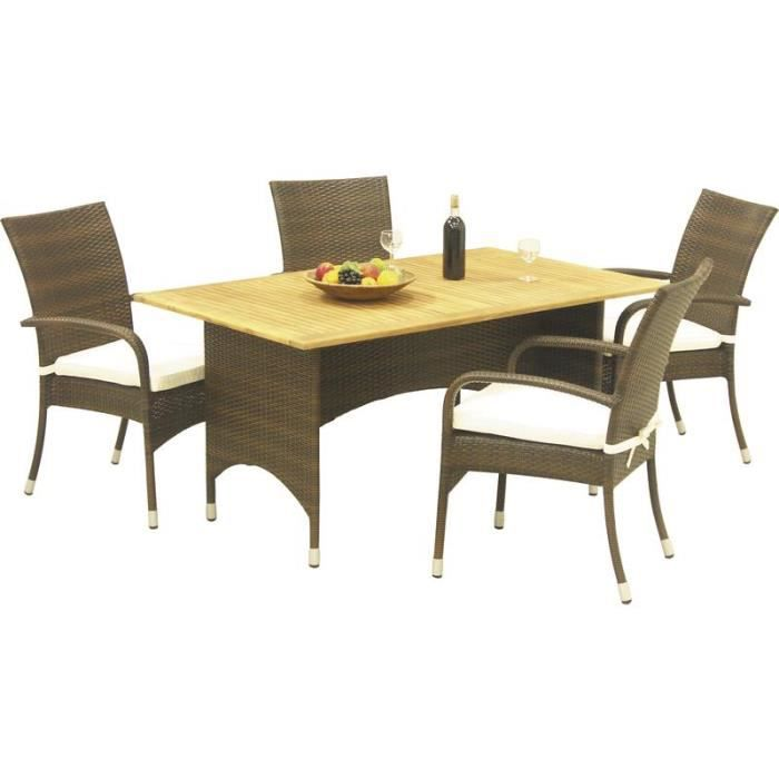 Salon de jardin en r sine 4 fauteuils 1 table plateau en for Salon 4 fauteuils