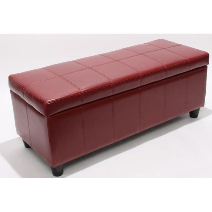 banc avec rangement cuir 112x45x45cm rouge achat vente. Black Bedroom Furniture Sets. Home Design Ideas