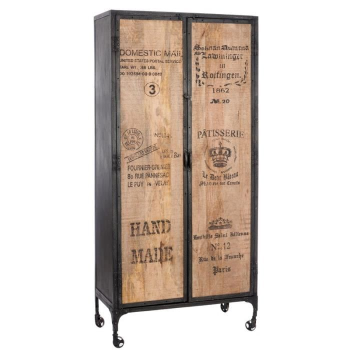 armoire en bois et m tal factory achat vente armoire. Black Bedroom Furniture Sets. Home Design Ideas
