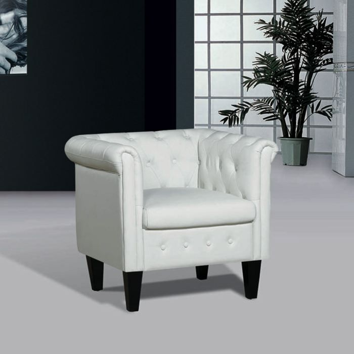 fauteuil chesterfield junior cuir blanc achat vente. Black Bedroom Furniture Sets. Home Design Ideas