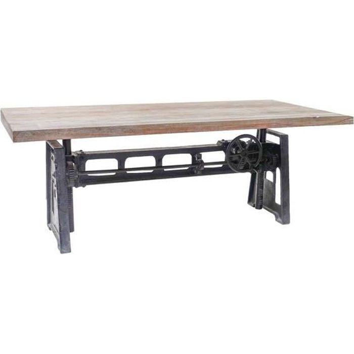 table repas plateau bois et pied en fonte relevable manivelle meuble house marron achat. Black Bedroom Furniture Sets. Home Design Ideas
