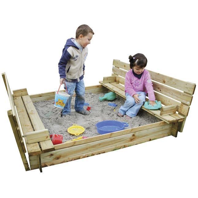 bac sable carr en bois avec couvercle et bancs achat vente maisonnette ext rieure cdiscount. Black Bedroom Furniture Sets. Home Design Ideas