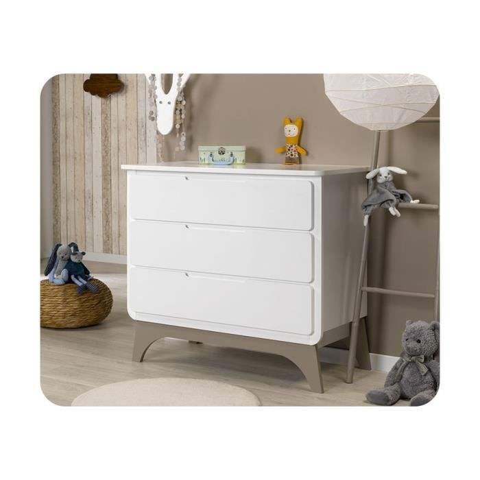 Commode b b pepper blanche et lin gris gris achat vente commode b b 366 - Commode bebe cdiscount ...