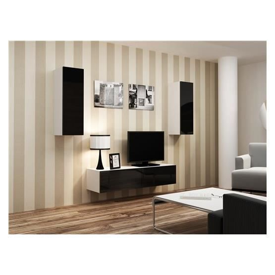 meuble tv design suspendu mano blanc et noir achat. Black Bedroom Furniture Sets. Home Design Ideas