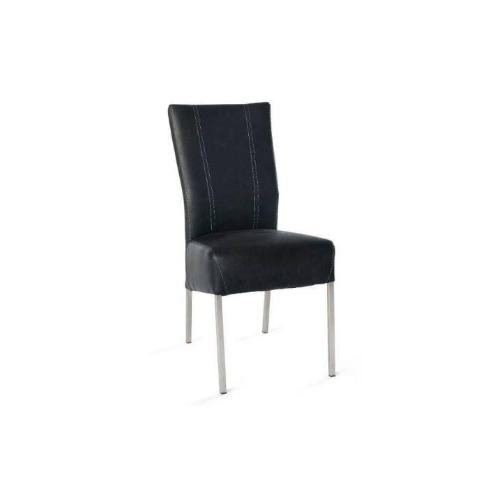 Chaise design laura pu vieilli noir pieds inox achat vente chaise noir - Chaises design en soldes ...