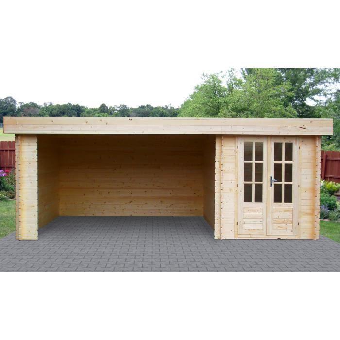 Abri de jardin carnoux bois emboit 28 mm achat vente abri jardin chalet abri de for Abri de jardin en bois la redoute