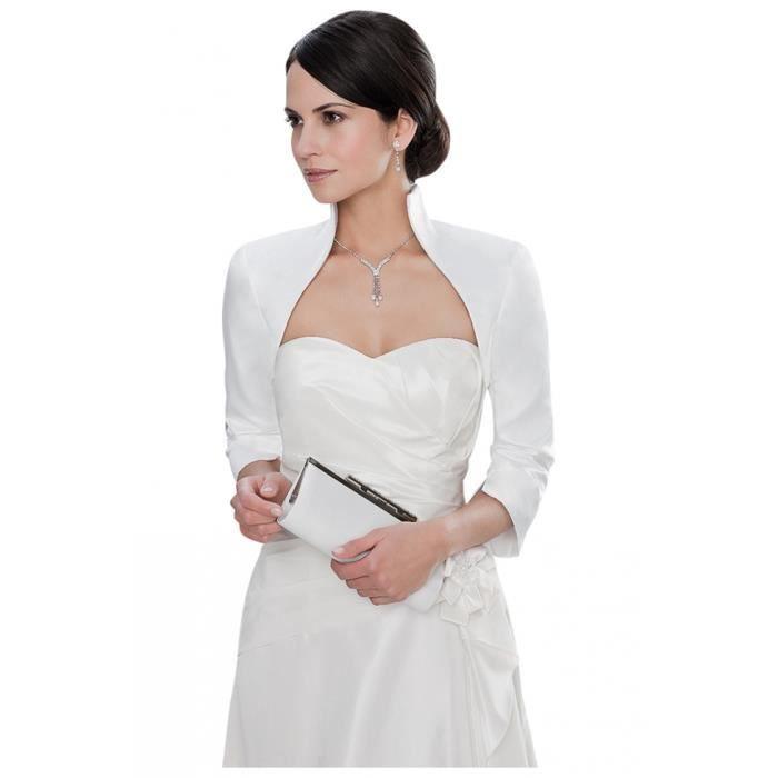 Veste de mari e courte en satin ivoire blanc achat vente veste sold - Blanc d ivoire soldes ...