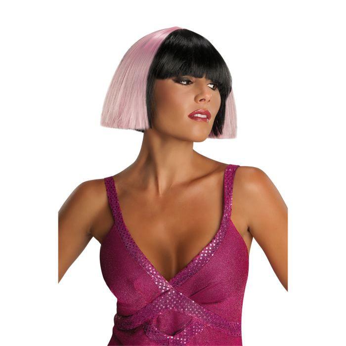 perruque bi colore rose et noire - Perruque Colore