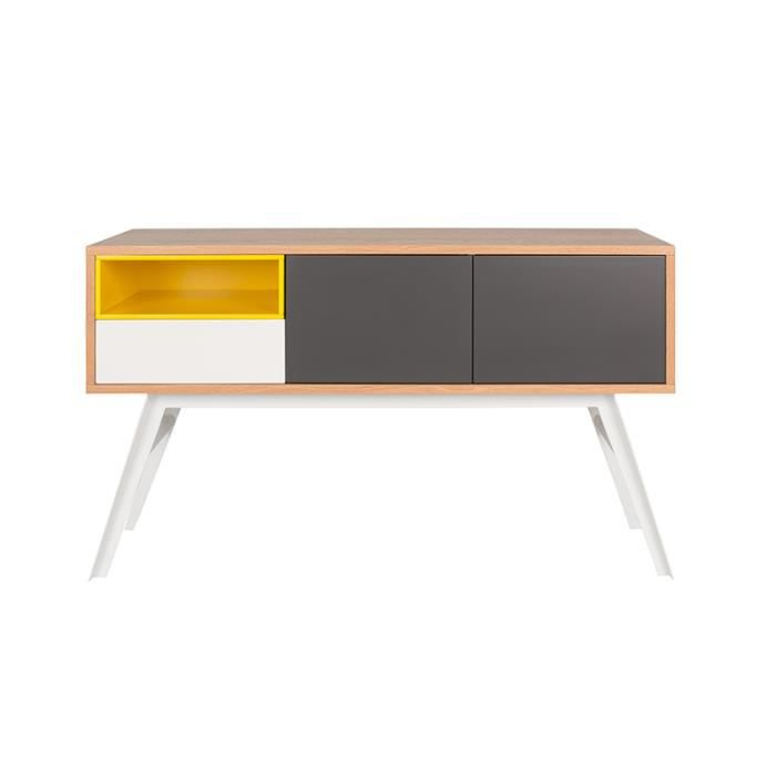 Meuble tv alps 2 portes 1 tiroir 1 niche jaune achat for Meuble bureau jaune