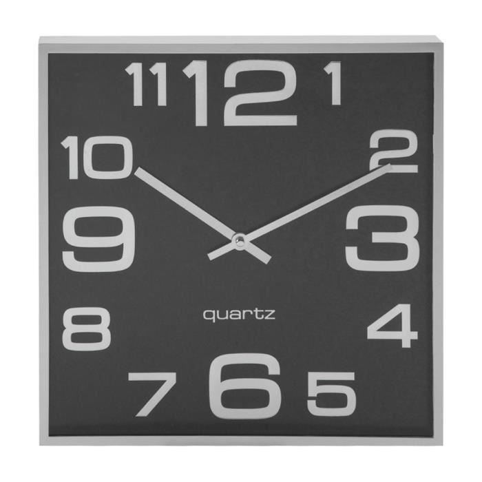 horloge murale carr e fond noir cadre argent 28x28cm achat vente horloge cdiscount. Black Bedroom Furniture Sets. Home Design Ideas